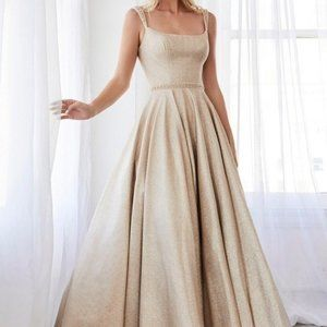 Champagne Gold A-Line Glitter Prom Dress CD794